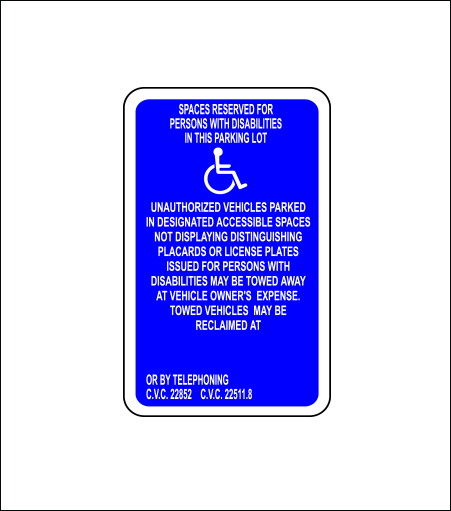 Handicapped Space Reserved - Blue (Stall)