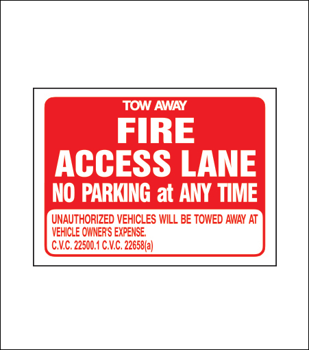 Fire Access Lane No Parking Sign