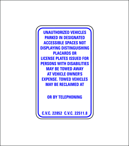 Handicapped Unauthorized Tow Away Regulatory Sign (Entrance)